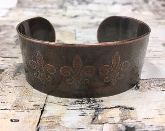 Fleur de Lis Copper Cuff Bracelet