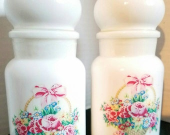 Vintage Shabby Chic Belgium Milk Glass Powder Canisters