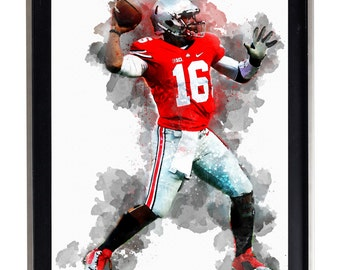 THE Ohio State University Buckeyes JT Barrett Art Print Matte Print Poster 16 x 20 Splatter