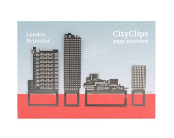 Brutalist London Architecture Bookmarks, Trellick Tower, Barbican Tower, National Theatre, Buildings