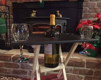 4 GLASS BLACK Wine Caddy Folding Table, Travel Wine Carrier, Wine Server,  Wine