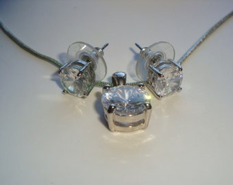 Large AB Rhinestone Necklace and Pierced Earring Set