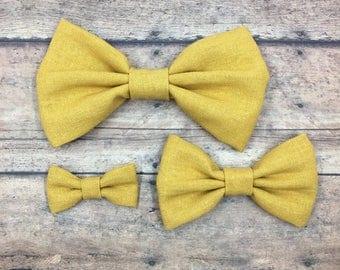 Mustard Yellow Fabric Bow (3 sizes) on Metal Clip, Elastic Headband, or Hair Tie; Linen Hair Bow, Mustard Yellow Hair Bow, Yellow Hair Bow