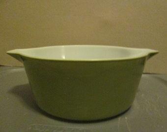Vintage Green Pyrex Casserole Dish; Vintage Green Pyrex;