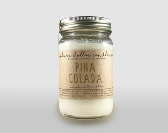 Pina Colada Scented Candle 16oz Soy Wax Candle container candle Coconut scent Cocktail Candle Gifts for drinkers Gift idea Cocktail Candle