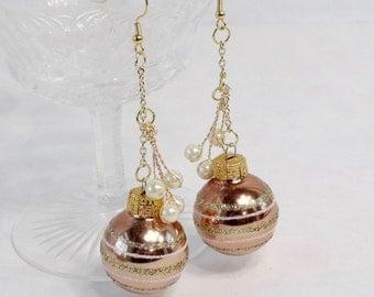 rose gold ornament earrings, glitter striped earrings, holiday earrings, tacky christmas festive earrings, mistletoe earrings, party jewelry