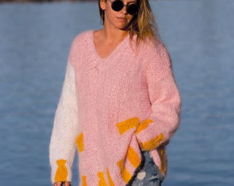 Mohair sweater, Sweater tunic, handmade - Knit - Pink