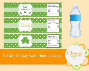 St Patrick's Day Party Decor Water Bottle Wraps, Luck of the Irish Water Bottle Labels, Shamrock Water Bottle Wraps, Waterproof Labels