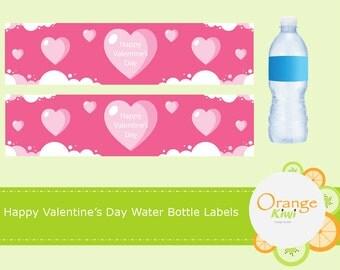Valentine Pink Heart Water Bottle Wraps, Valentine Water Bottle Labels, Happy Valentine's Day Party Favors, Valentine Drink Labels