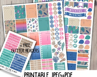Sea printable planner stickers ocean sticker set blue green sea corals fish shells glitter headers for use with Erin Condren LifePlannerTM