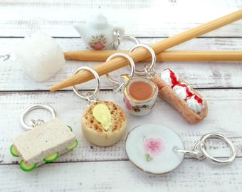 Afternoon Tea stitch markers - miniature food stitchmarkers - teapot cream doughnut crumpet - knitting crochet progress markers place holder