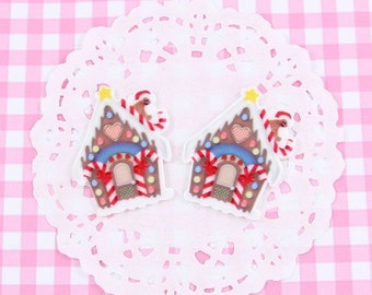10% OFF SALE 5 x Cute Gingerbread House Cabochon Embellishments Kawaii DIY Craft Decoden