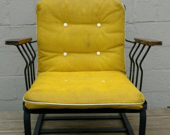 Vintage mid century modern steel and wood chair