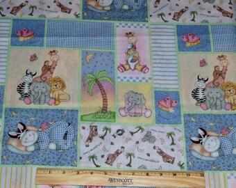 BAZOOPLES FABRIC!  1/2 Yard For Quilting / Jungle - Safari Animals / Lion - Giraffe - Monkey