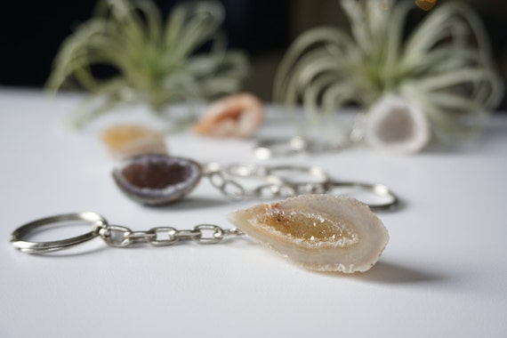 Crystal and Mineral Keychain- Geode or Amethyst Selection
