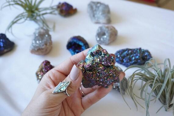 NEW! Aura Amethyst Cluster -  Angel Amethyst - Crystal - Stones - Druzy - Desk Decor- Home Decor - Bohemian