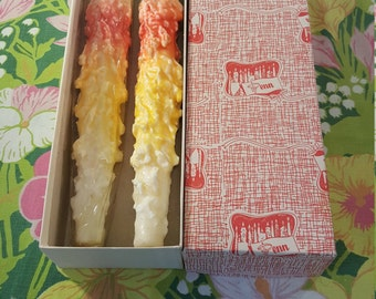 Vintage PENN WAX  Candles Taper Pair Original Box