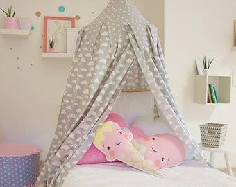 Bed Canopy Princess Room Decor Grey Girl