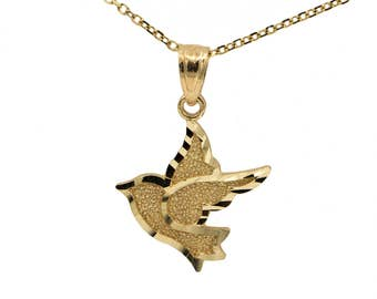 14k Yellow Gold Dove Necklace