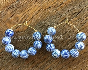 Blue and White Chinoiserie Hoop Earrings | GOLD, SILVER, royal blue, hoops, dainty, lightweight