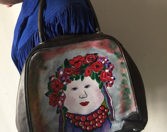 "Dark gray designer handbag, from leather, bag has unique printed picture -""Ukrainian girl"", stylish handmade bag, new style, size-medium."