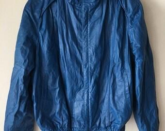 Handmade Short Vintage Bright Blue Soft Genuine Leather Jacket Men's Size Medium.