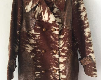 Classy Mid Length Vintage Brown & White Faux Fur Coat Leather Inserts Women's Size Medium.