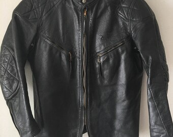 Steep Motorcycle Short Vintage Black Genuine Leather Jacket Men's Size Medium.