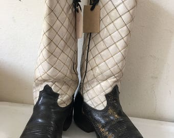 White & black men's cowboy boots from leather, shabby and scratched leather with embroidery vintage western retro boots men's size - 10D-11.