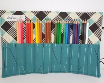 Pencil Roll - Zen Plaid, colored pencil roll, pencil case, 24 colored pencils, PERSONALIZE IT!