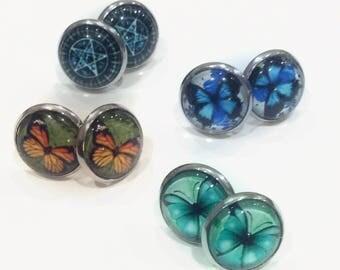 Silver tone Stud Earrings 4 Styles