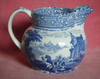 Antique c.1880 Wardle Arcadian Chariots Blue And White Transferware Jug
