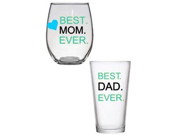 Best Mom and Dad Glass Set(2), Mothers Day Gift, Father's Day Gift, Best Mom and Dad Wine/Pint Glass