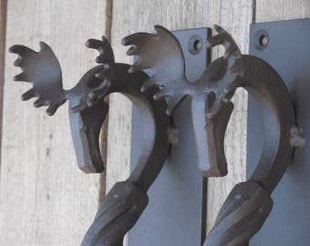 Set of 2 hand forged door pulls (medium), Moose, Blacksmith made, Wrought iron, Steel gate, Entrance door pull handle, Square