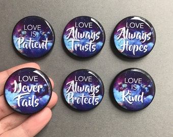 Love 1 Corinthians 13 Magnets Pins Valentine's Day Love is Patient Love is Kind Wedding Vow Verse Set Creative Gift Ideas Love Never Fails