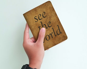 See The World - Personalized Passport Cover/Holder - Travel Passport Cover - High Quality Handmade Leather | TG-PAS-004