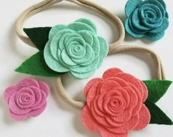 Large Wool Felt Rose Flower Hair Bow for Baby or Girls, Felt Flower Hairbow Clip or Nylon Headband, Custom Match Outfit From Rainbow Colors