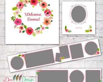 3x3 Accordion Template ,Accordion Book Template, Accordion Mini Book for Girls, Instant Download