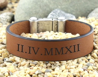 Personalized Bracelet, Roman Numeral Bracelet, Customized Bracelet, Gift for Valentine's, Anniversary Bracelet, Engraved Leather Bracelet