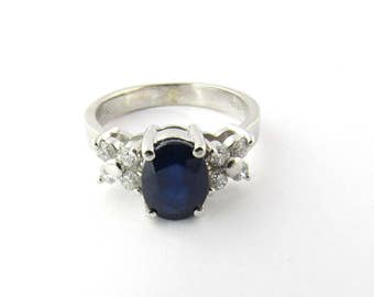 Vintage 14K White Gold Diamond and Sapphire Ring #1415