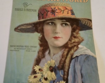 1917 sheet music, Maty Pickford, suitable for framing