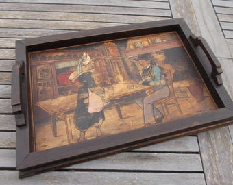 set in ancient wood, large decorative plate with painting on wood of a Breton scene, shabby, old breton tray serving tray