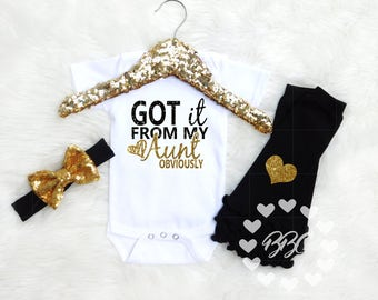 Got IT From My Aunt, Baby Girl Clothes, Bodysuits, Girls Clothing Sets, Baby Shower Gift For Niece, Best Auntie, Gold and Black Set Headband