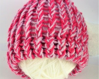 SUMMER SALE - Pink baby hat, pink baby hat hat, lilac baby hat, knit baby hat, knit baby hat, baby shower gift, baby girl, newborn hat