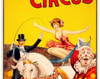 Vintage Gentry Bros Circus Advertising Poster Print