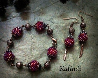 "Set Bracelet + Earrings ""Raspberry"""