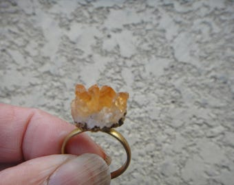 vintage yellow Quartz Crystal Rock  adjustable ring, Quartz Crystal Rock ring