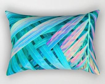 Teal Pillow, Tropical Home Decor, Blue Tropical Throw Pillow, Tropical Glam Accent Pillow, Rainbow Palm Leaf Pillow Leaf Print Lumbar Pillow