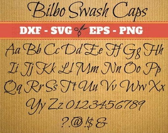Bilbo swash Script SVG, Handwriting Font, Retro Script Monogram Svg, Dxf, Eps, Png; Fancy Script, Cursive SVG Font, Silhouette Files, Cricut