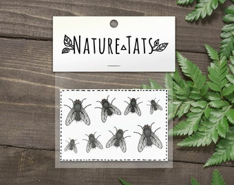 House Fly Temporary Tattoos, Collection of 8, Realistic Flies, Bug, Insect Tattoo, Nature Tattoo